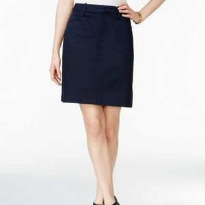 Tommy Hilfiger Navy A-Line Utility Twill Skirt